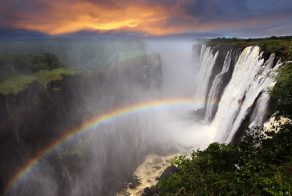 View the breathtaking sights at the Victoria Falls on the Zambezi River, in Africa.