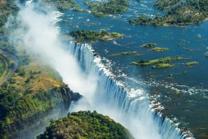 A view of the Victoria Falls from above, in Africa