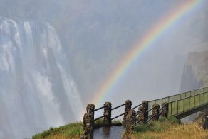 A rainbow the Victoria Falls created in Africa